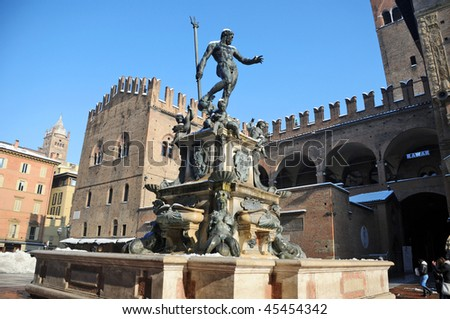 Neptune fountain covered with snow, Bologna, Italy - stock photo