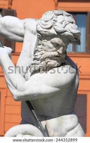 Neptune fountain in Navona Square of Rome, Italy - stock photo