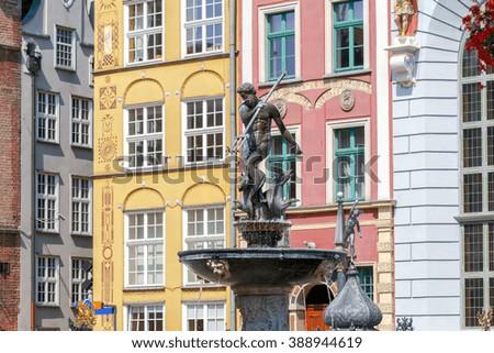 Neptune Fountain in the historic center of Gdansk. - stock photo