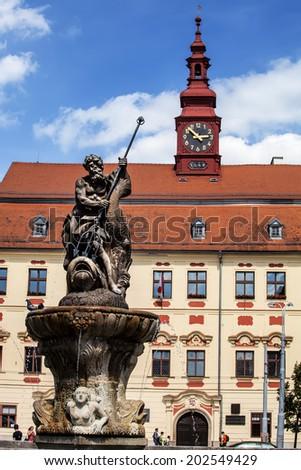 Neptune statue at Masaryk square in Jihlava Czech Republic. - stock photo