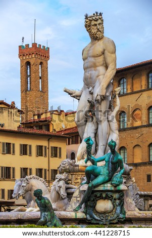 Neptune Statue in the Florence, Italy