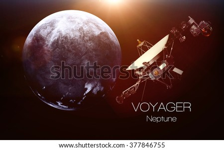 Neptune - Voyager spacecraft. This image elements furnished by NASA. - stock photo