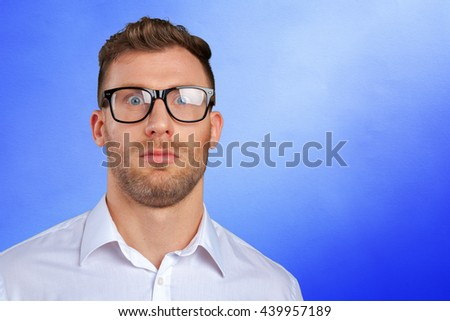 Nerd businessman in glasses - stock photo