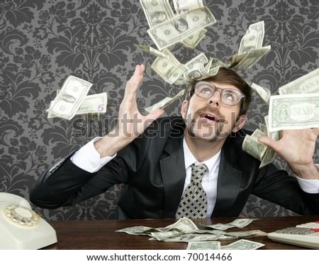 nerd businessman retro office flying dollar notes vintage wallpaper - stock photo