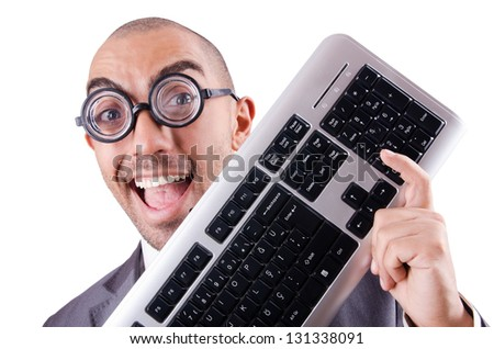 Nerd businessman with computer keyboard on white - stock photo