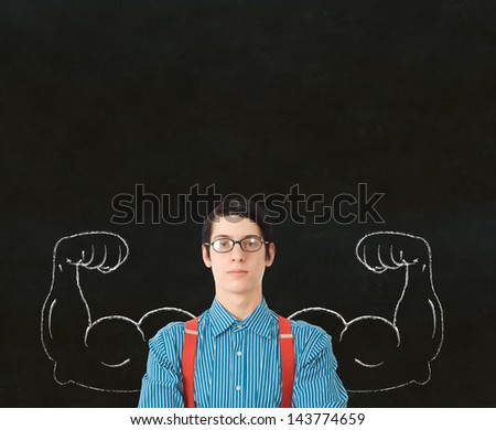 Nerd geek businessman, student or teacher with chalk healthy strong arm muscles for success - stock photo