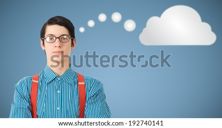 Nerd geek businessman student or teacher with thought thinking cloud or computing - stock photo
