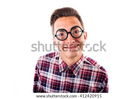 Nerd gesticulating, isolated on white background - stock photo