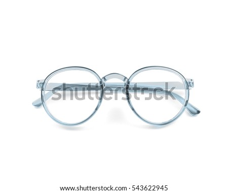Nerd glasses on isolated white background, perfect reflection