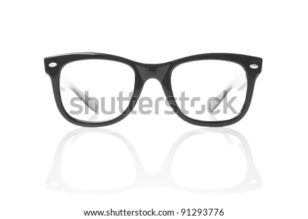 Nerd glasses on isolated white background, perfect reflection - stock photo