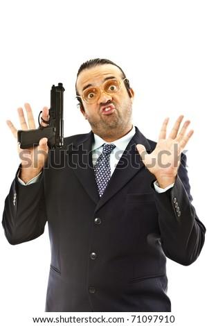 Nerd Holding a fire gun with hands up . - stock photo