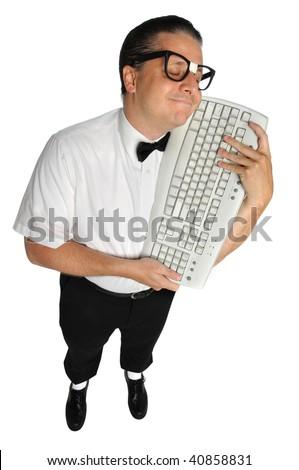 Nerd lovingly holding keyboard isolated over white background - stock photo
