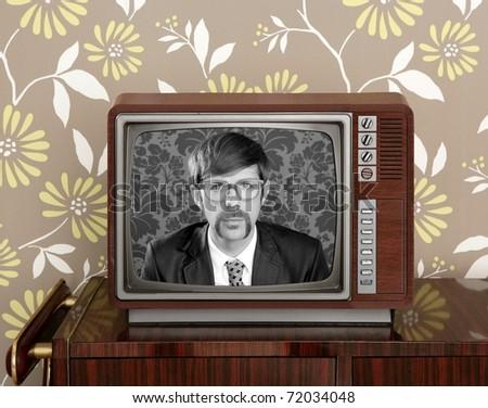 nerd retro  vintage tv presenter hero on wood television wallpaper [Photo Illustration] - stock photo