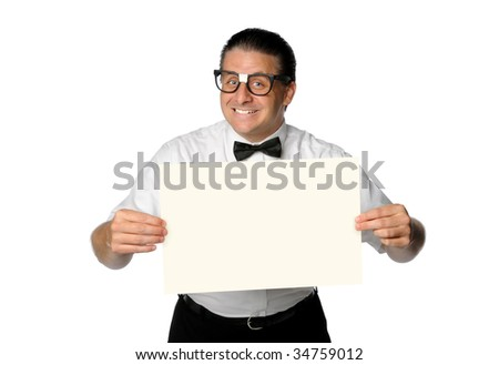 Nerd smiling and holding blank sign isolated over white