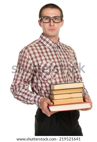 nerd with glasses and a book in hand on white background