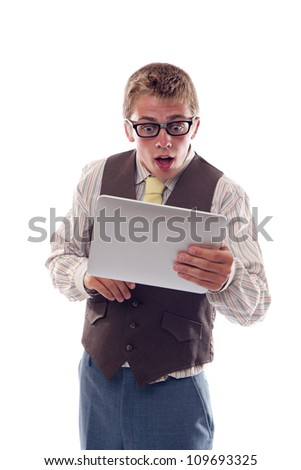Nerd with tablet - stock photo