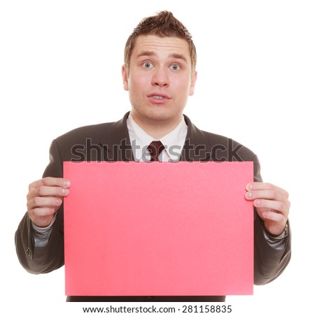 Nerdy business man or goofy student guy holding sign red blank copy space for text. Funny facial expression. isolated on white background - stock photo
