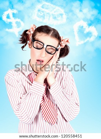 Nerdy Business Woman In Cute Retro Clothes Dreaming Up A Money Symbol With A New House And A Romantic Love Interest - stock photo