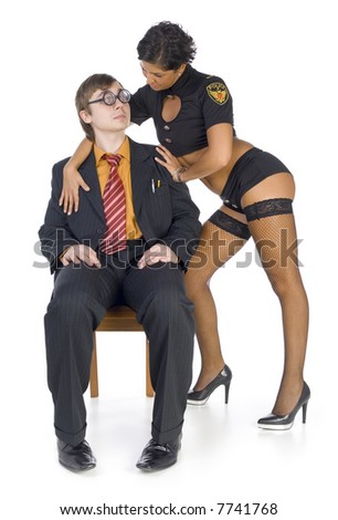 Nerdy businessman sitting on chair near by stripteaser. The woman is holding his arms. Man looking confused. Isolated on white in studio. Whole body, front view - stock photo