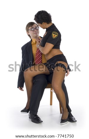 Nerdy businessman sitting on chair with stripteaser on knees. The woman is holding his tie. Man looking frightened. Isolated on white in studio. Whole body, front view - stock photo