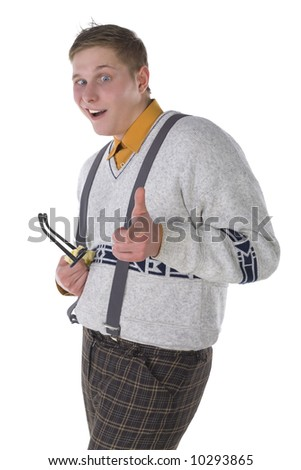 Nerdy guy with cross-eye. Smiling and cleaning glasses. Pointing at something. Side view, white background - stock photo