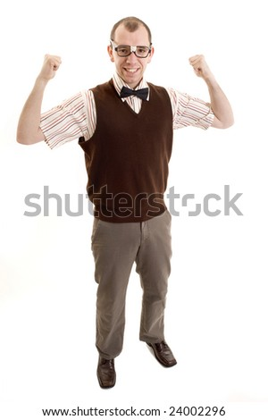 Nerdy looking guy flexing his muscles.
