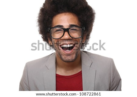 Nerdy man with a funny face - stock photo