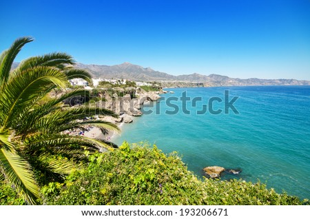 Nerja coastline landscape, famous touristic town in costa del sol, Malaga, Andalusia, Spain. - stock photo