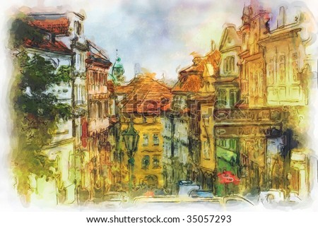 Nerudova street in Old Prague made in artistic watercolor style