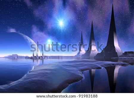 Nerus III - Alien Planet, fantasy alien planet with towers, mountains, lake and a great sky in the background - stock photo