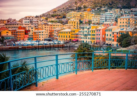 Nervi is a former fishing village now a seaside resort of Genoa in Liguria region of Italy - stock photo