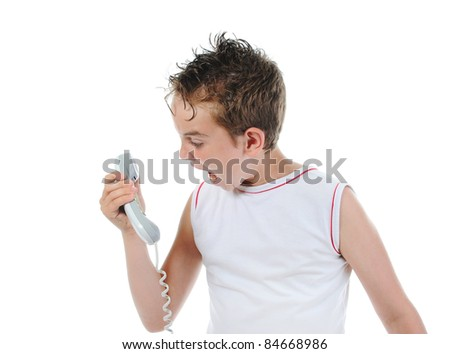 Nervous boy screaming on the phone. Isolated on white background