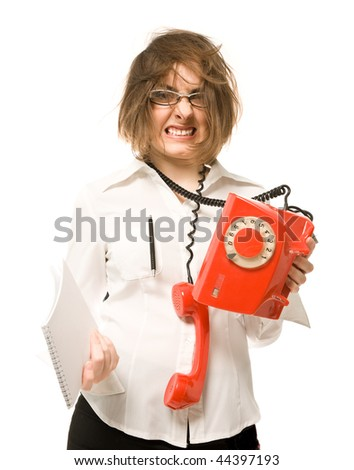 Nervous businesswoman with telephone and notebook - stock photo