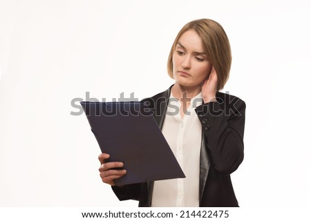 nervous girl with a folder in hands