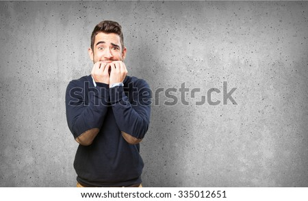 nervous man on white - stock photo