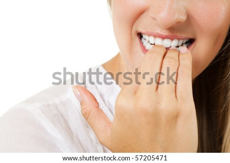 Nervous woman - stock photo