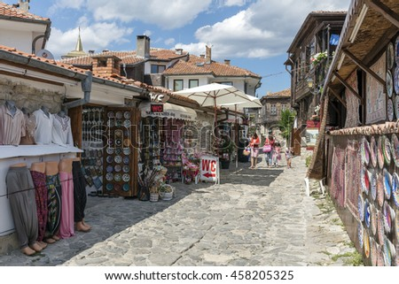 NESSEBAR, BULGARIA- JULY 20, 2016: People in the old town. The site forms part of the Ancient City of Nesebar UNESCO World Heritage Site.