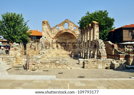 NESSEBAR, BULGARIA - JULY 16:The church St. Sofia on July, 16 2012 in Nessebar, Bulgaria. The church was built at the end of 5th century and was an important part of the Nessebar bishop's residence.