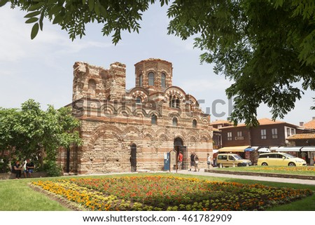 NESSEBAR, BULGARIA, JUNY 18, 2016: architectural solutions Nessebar old town buildings residential quarter