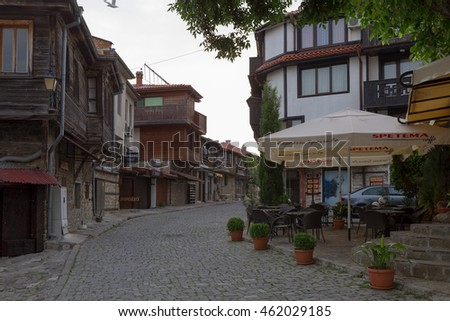 NESSEBAR, BULGARIA, JUNY 20, 2016: architectural solutions Nessebar old town buildings residential quarter