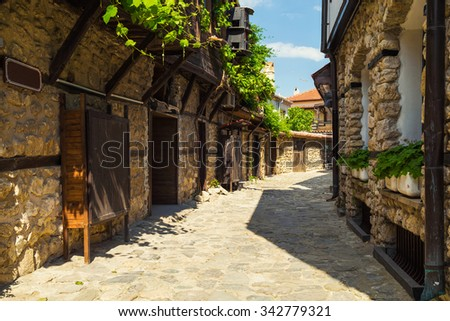 Nessebar, Bulgaria - May 30, 2015: Old traditional street in the old town of Nessebar, Bulgaria.
