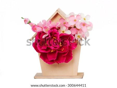 nest box birdhouse house for birds isolated on white background  - stock photo