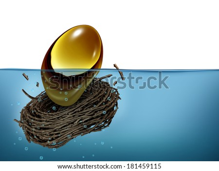 Nest Egg crisis financial concept as a golden oval and nesting bird twigs falling into water as a metaphor of finance debt trouble and savings loss due to bad business and economical problems. - stock photo