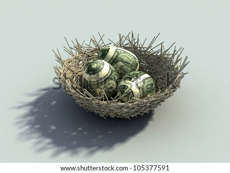 Nest Egg metaphor with three eggs mapped with dollar bills - stock photo