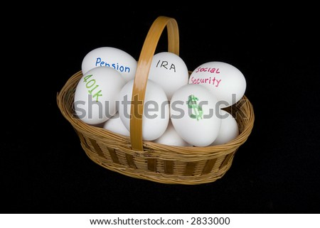 nest egg retirement basket - stock photo
