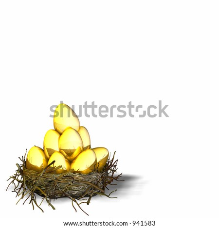 Nest filled with golden eggs - stock photo