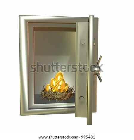 Nest full of golden eggs in a metal safe - stock photo