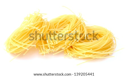 nest pasta on white background