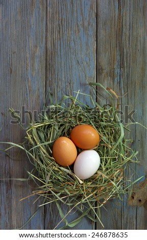nest with chicken eggs on old wooden board - stock photo