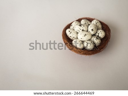Nest with speckled white quail eggs, Athens, Greece